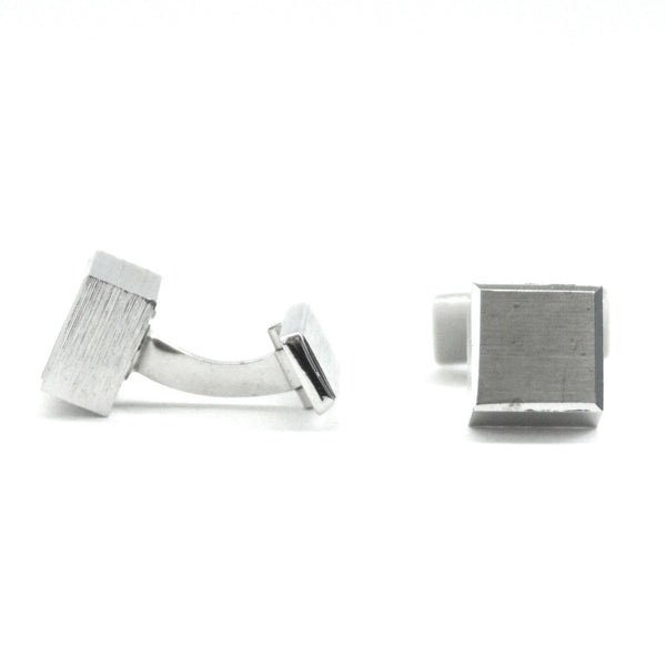 Simple Chrome 1980s cube cufflinks