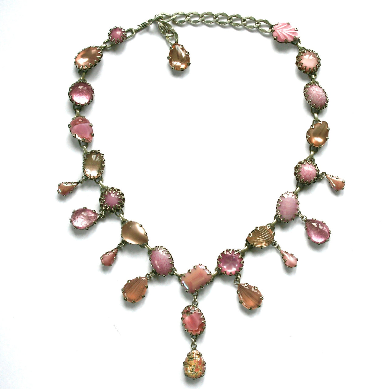 1980s Vintage DE Luxe Glass Necklace, Pink