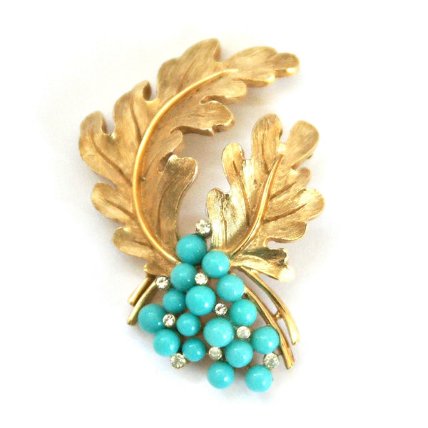 1960s Vintage Trifari Brooch, Gold Plate, Turquoise