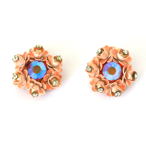 1950s Vintage Floral Clip On Earrings, Peach