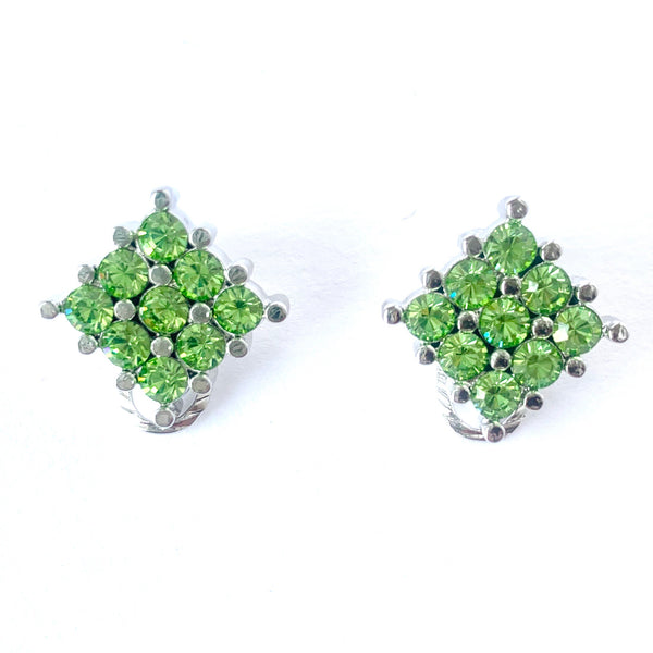 1980s Vintage Green Clip On Earrings
