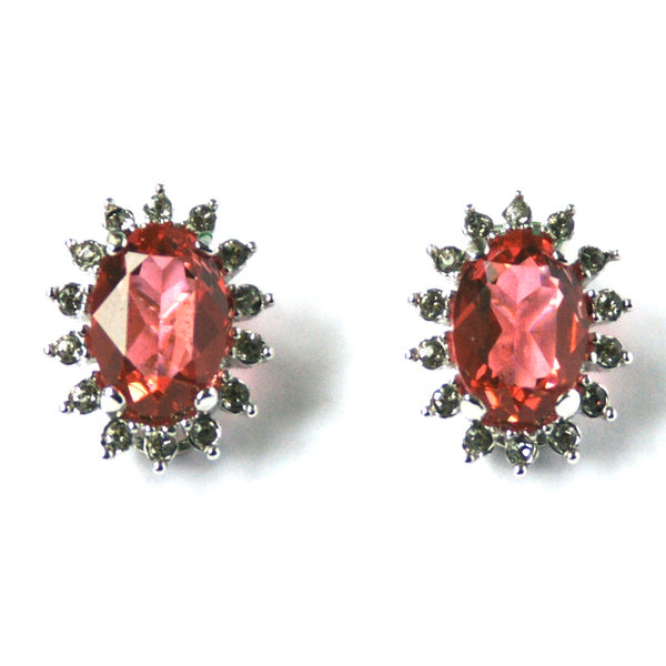 1980s Vintage Swarovski Crystal Clip On Earrings, Pink