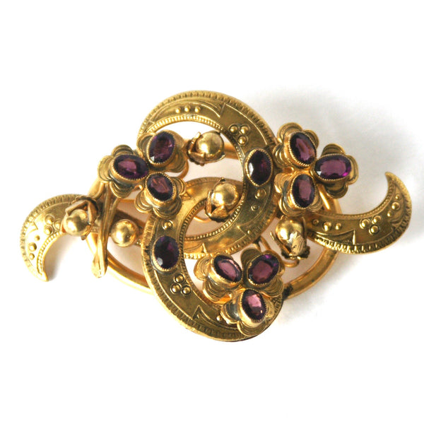 Vintage Victorian Revival Brooch, Brass, Purple