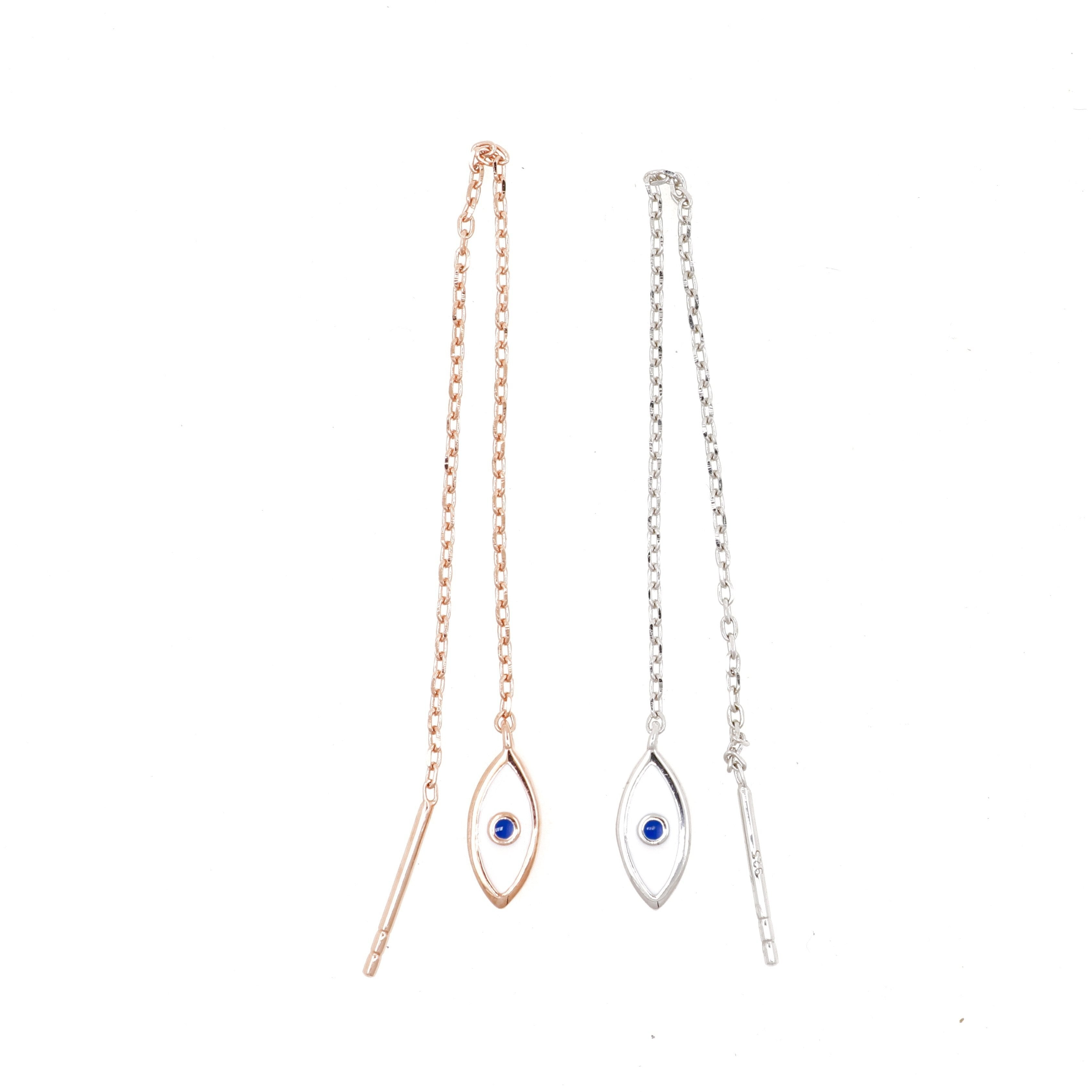 Rose gold Chain earrings - Eye see no evil