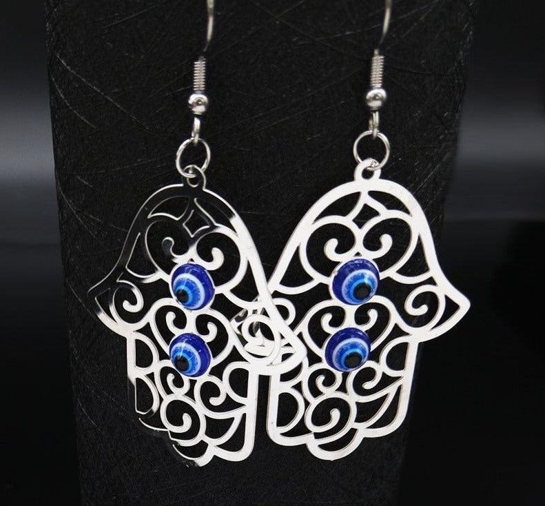Big Silver Sparkler Hamsa earrings