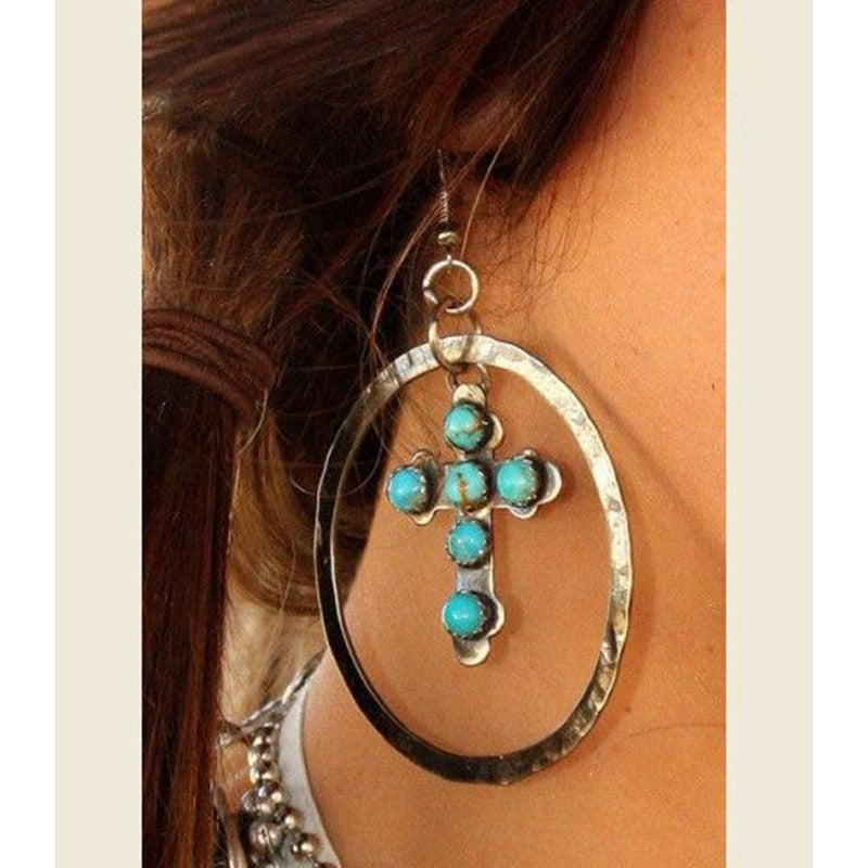 Bohemian Tribal Cross Turquoise earrings