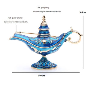 Aladdin's Blue Enamel Magic Lamp brooch