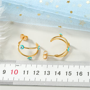 Chic Golden Eye Infinity Stud earrings