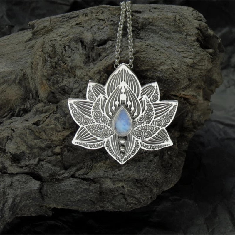 Luscious Lotus Silver Crystal Pendant necklace