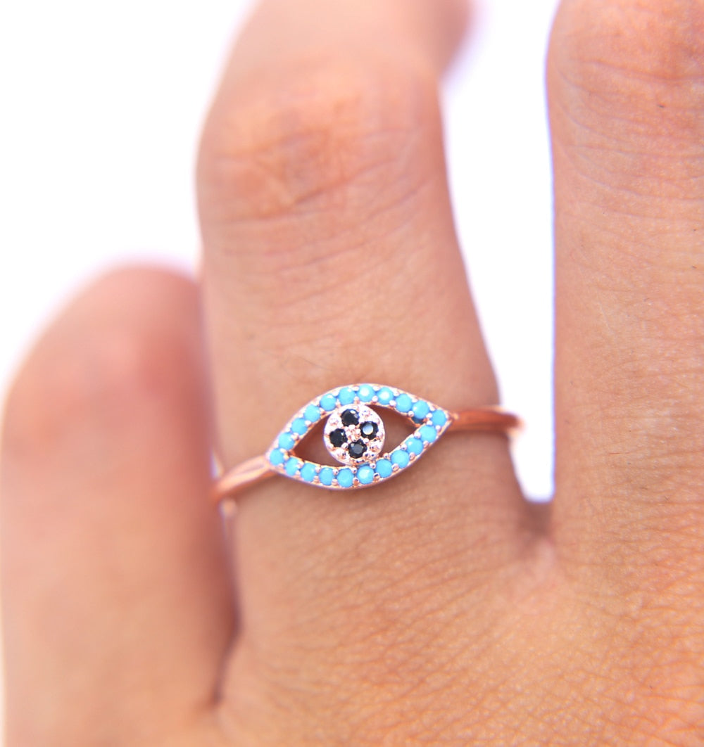 Rare Real Retro Open Crystal Paved Eye Adjustable ring