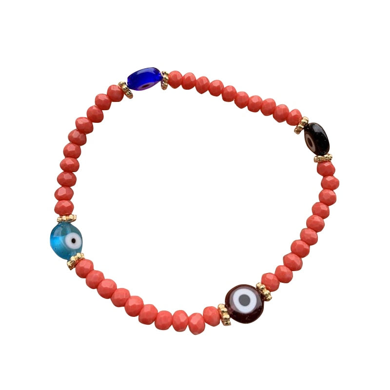 Lucky Handmade Evil Eye Glass Bead Charm bracelet