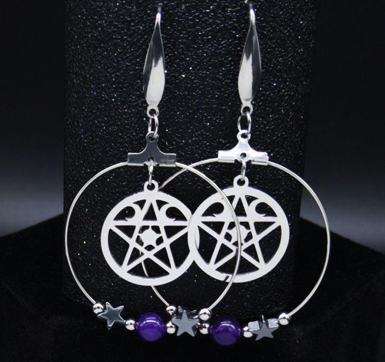 Pentagram Crystal Moon Witchery earrings