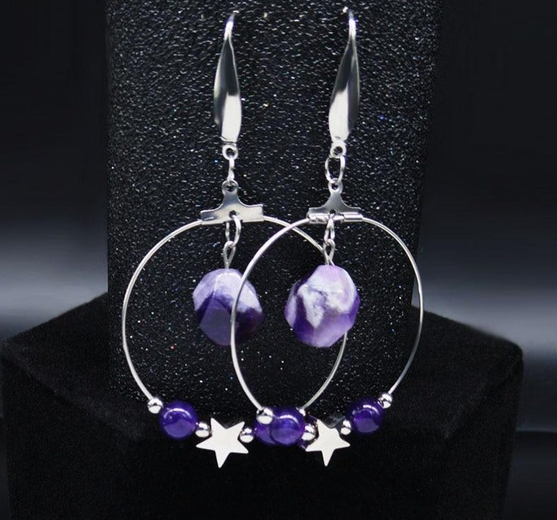 Pentagram Witchcraft Orbiting earrings