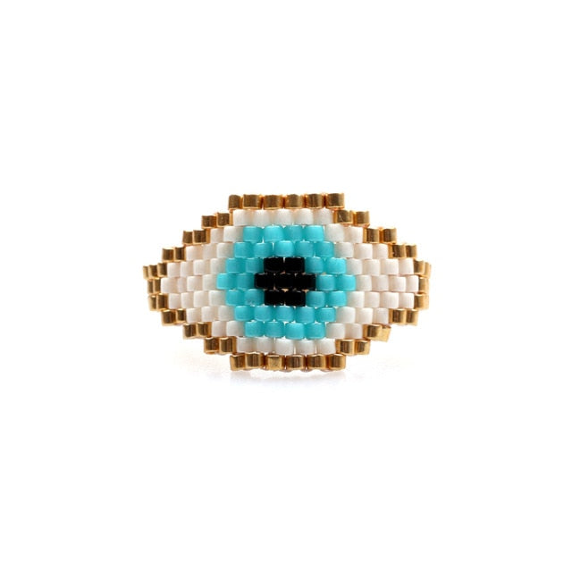Handmade Woven Bead Friendship ring - Eye see no evil