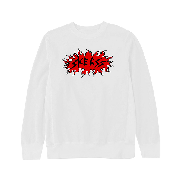 SKEGSS red flame logo print on a white crewneck