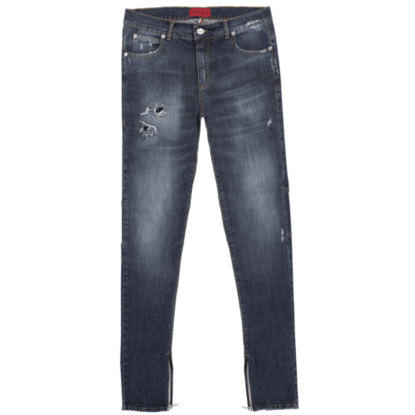 Zippered Denim Raw Indigo Jeans | Black Alcantara®