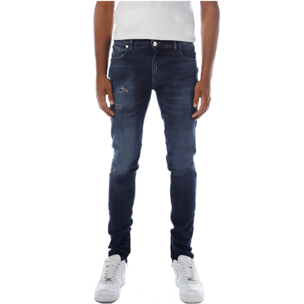 Zippered Denim Raw Indigo Jeans | Red Alcantara®