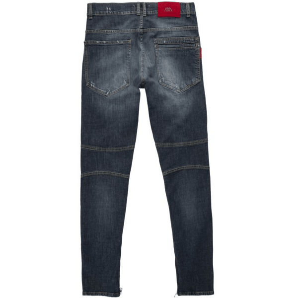 Zippered Denim Raw Indigo Jeans