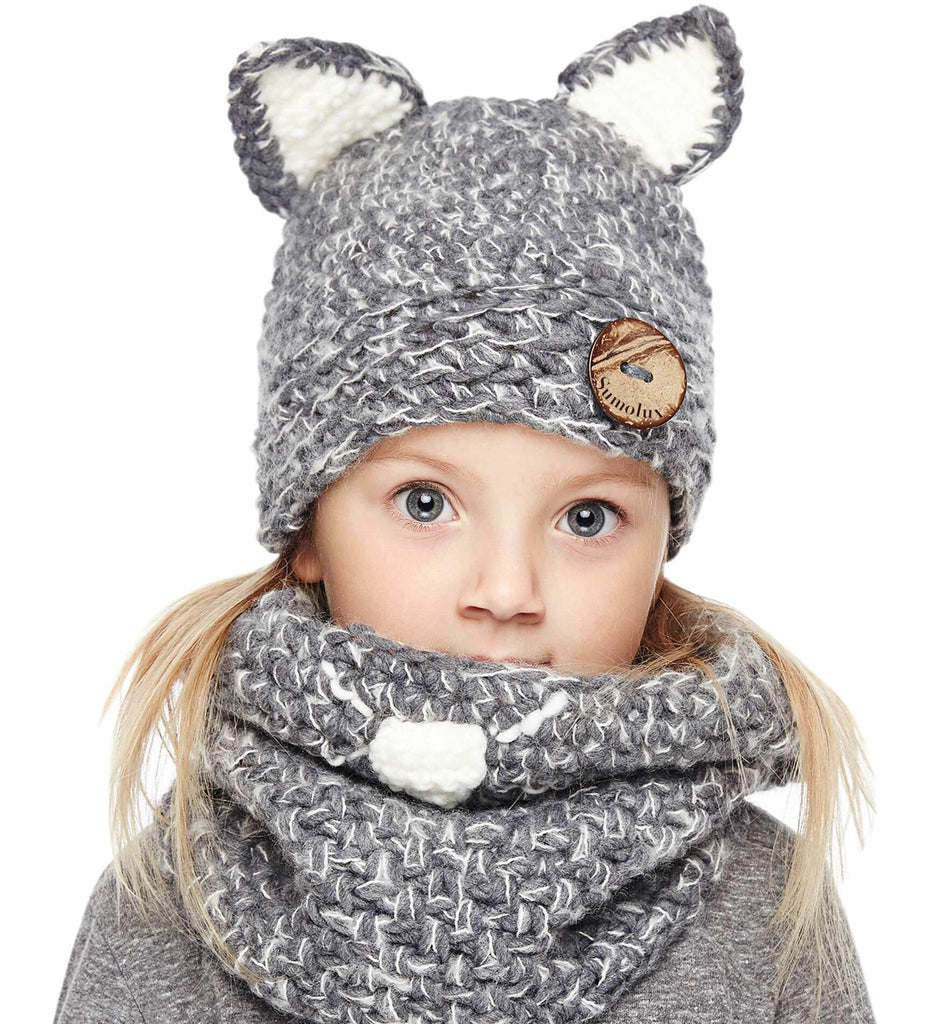0f07fc46d54 Sumolux Winter Kids Warm Cat Animal Hats Knitted Coif Hood Scarf Beanies  for Autumn Winter gray