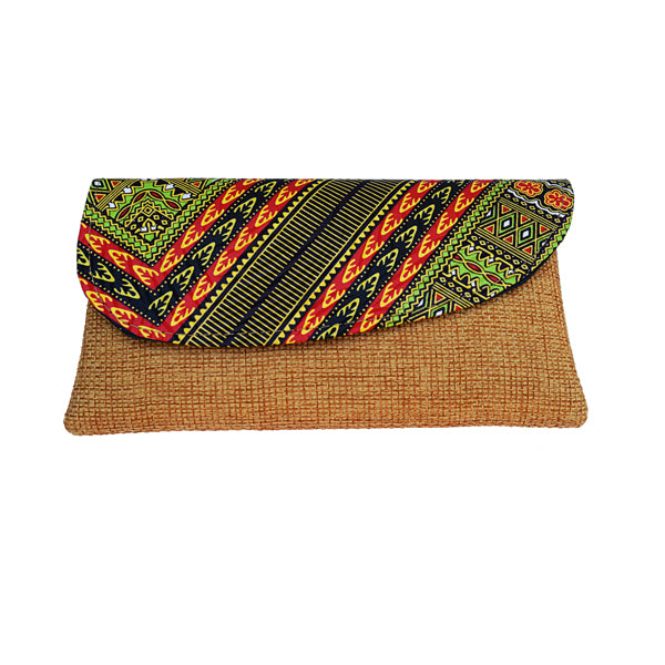 Green and Tan Ankara Fabric Maasai Clutch