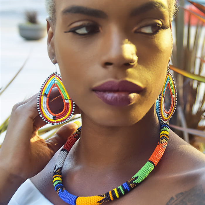 African Beaded Rope Necklace & Maasai Earrings
