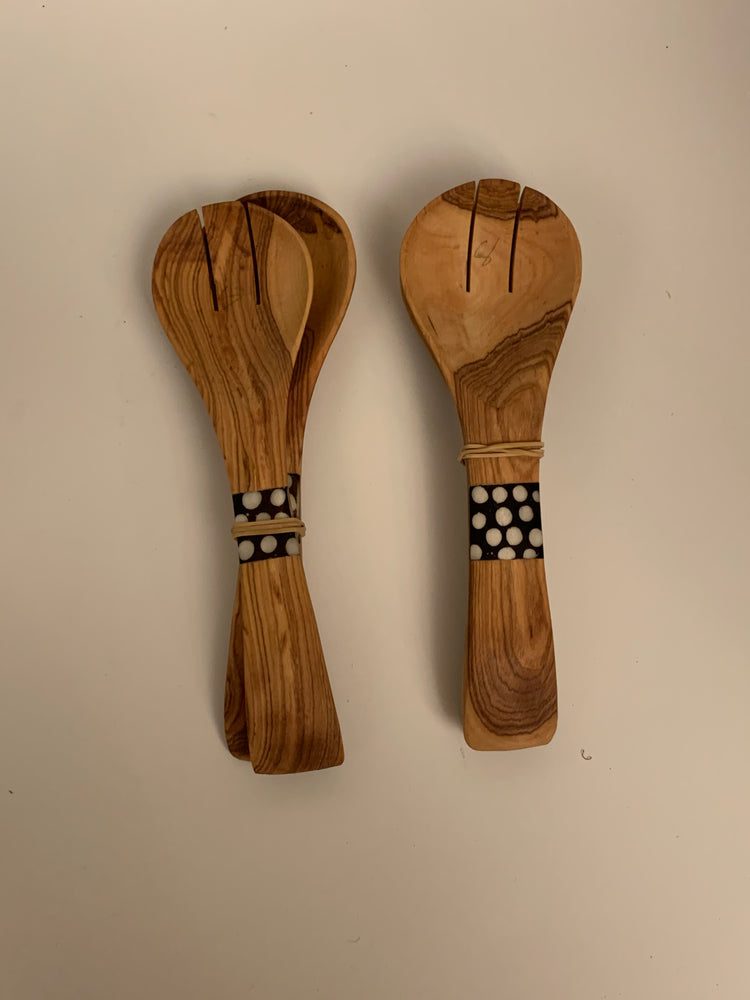 Cow Bone Inlaid Wooden Salad Tongs