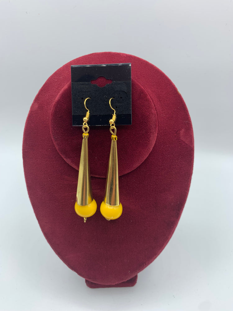 Bell shaped Brass Earrings with bead