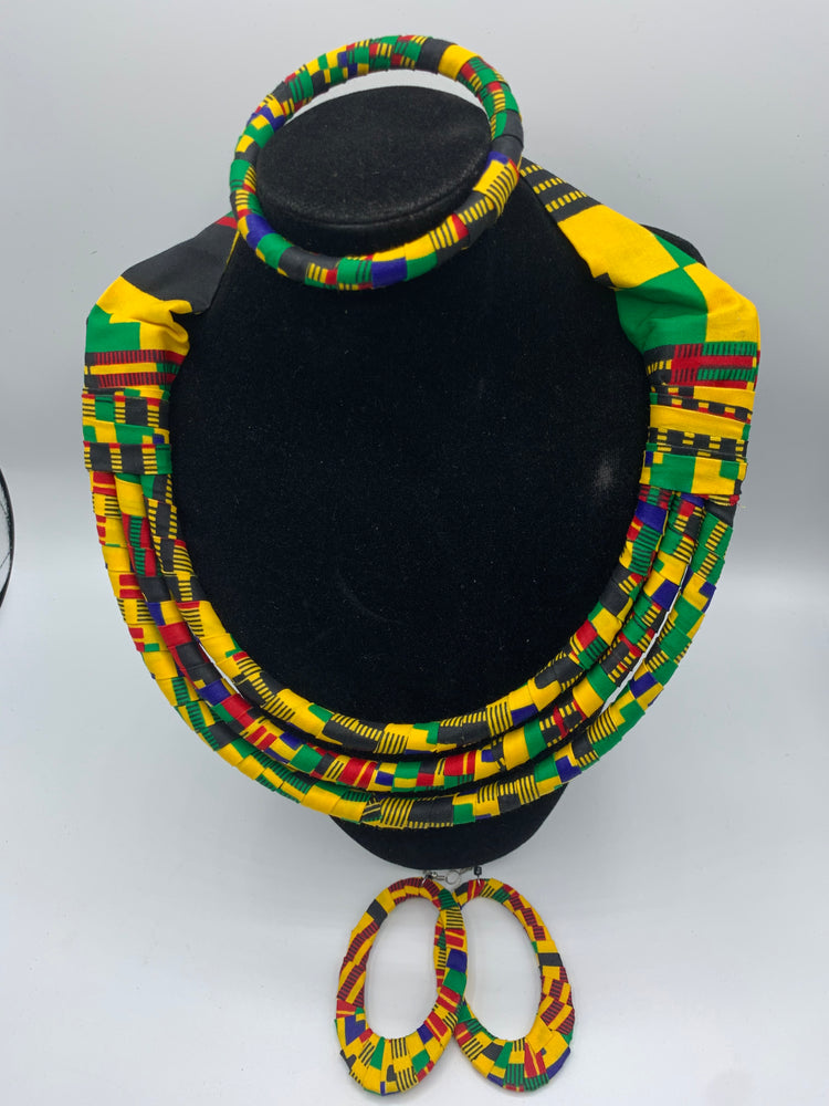 African Fabric Jewelry Set