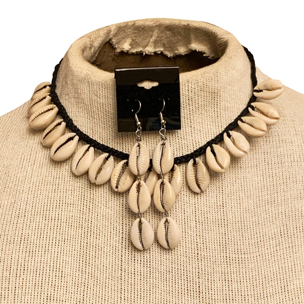 African Cowrie Shell Necklace & Earrings