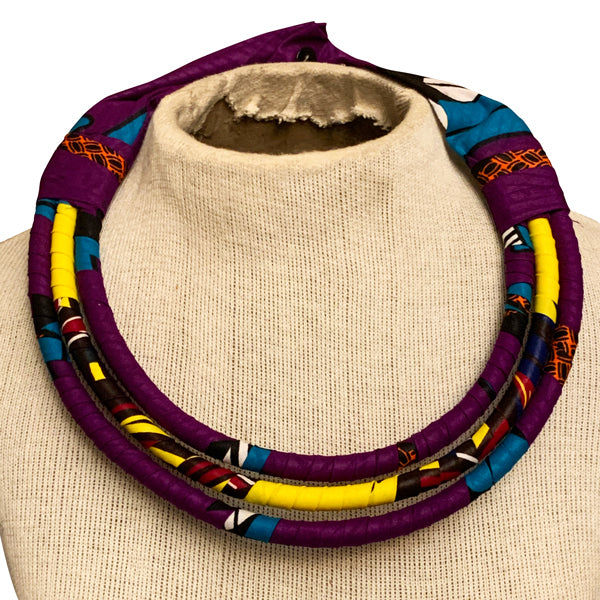 African Fabric Necklace and Earrings