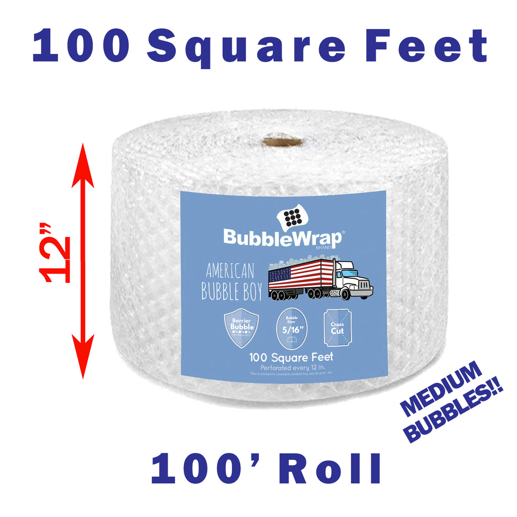 "12"" Medium (5/16) American Bubble Boy Wrap - 100 Square feet"
