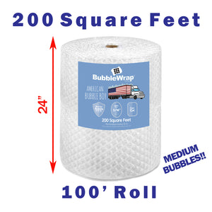 "24"" Medium (5/16) American Bubble Boy Wrap - 200 Square feet"