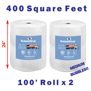 "24"" Medium (5/16) Bubble Wrap - 400 Square feet"