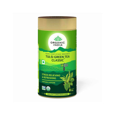 TULSI GREEN TEA CLASSIC TIN 100g【ORGANIC INDIA】