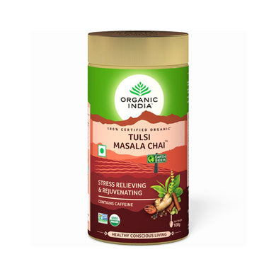 TULSI MASALA CHAI TIN 100g can【ORGANIC INDIA】