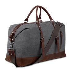 8d1297724fe8 Canvas Overnight Bag Travel Duffel Genuine Leather for Men and Women  Weekender Tote Grey
