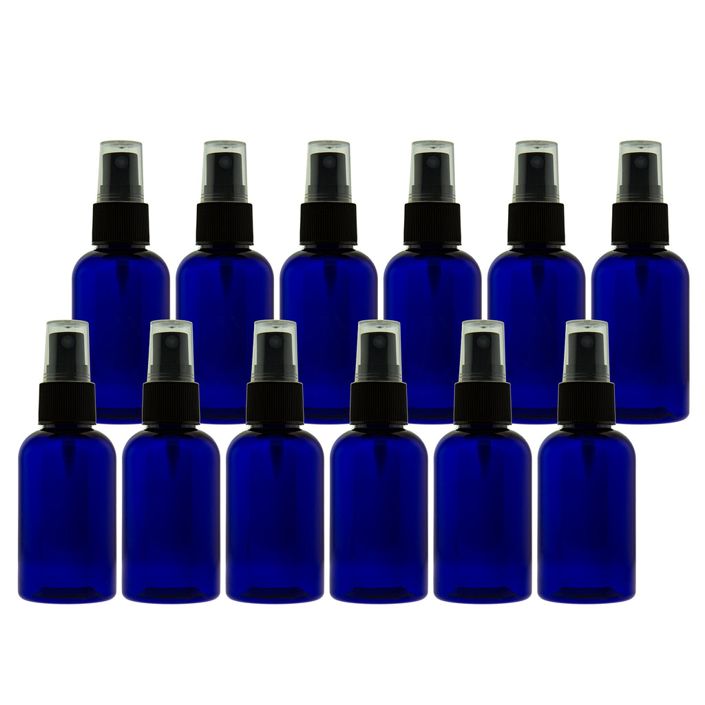723cdc1dade5 2 oz (60ml) Cobalt Blue PET Bottles Refillable - Boston Round spray bottles  for essential oils Blends - Great for DIY Projects - Set of 12 with 12 ...