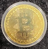 Load image into Gallery viewer, Gold Bitcoin with Showcase Box