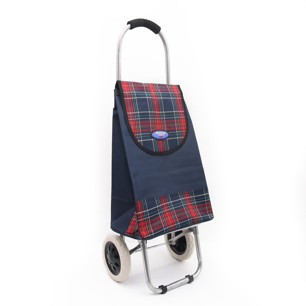 Eagle London 2 Wheel Shopping Trolley Shopping Cart - Tartan Print
