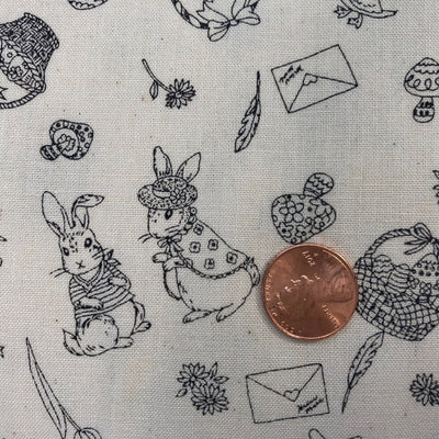 Japanese Peter Rabbit Black and White Cotton Fabric.