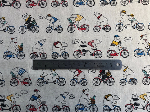 Cosmo Polar Bear Bike Cotton Linen Japanese Canvas.