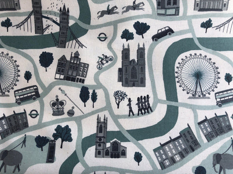 London Town London Forever Mint Unbleached Fabric Cotton + Steel RJR Fabric.