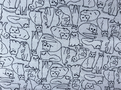 Robert Kaufman Cotton Flax Cat Fabric.