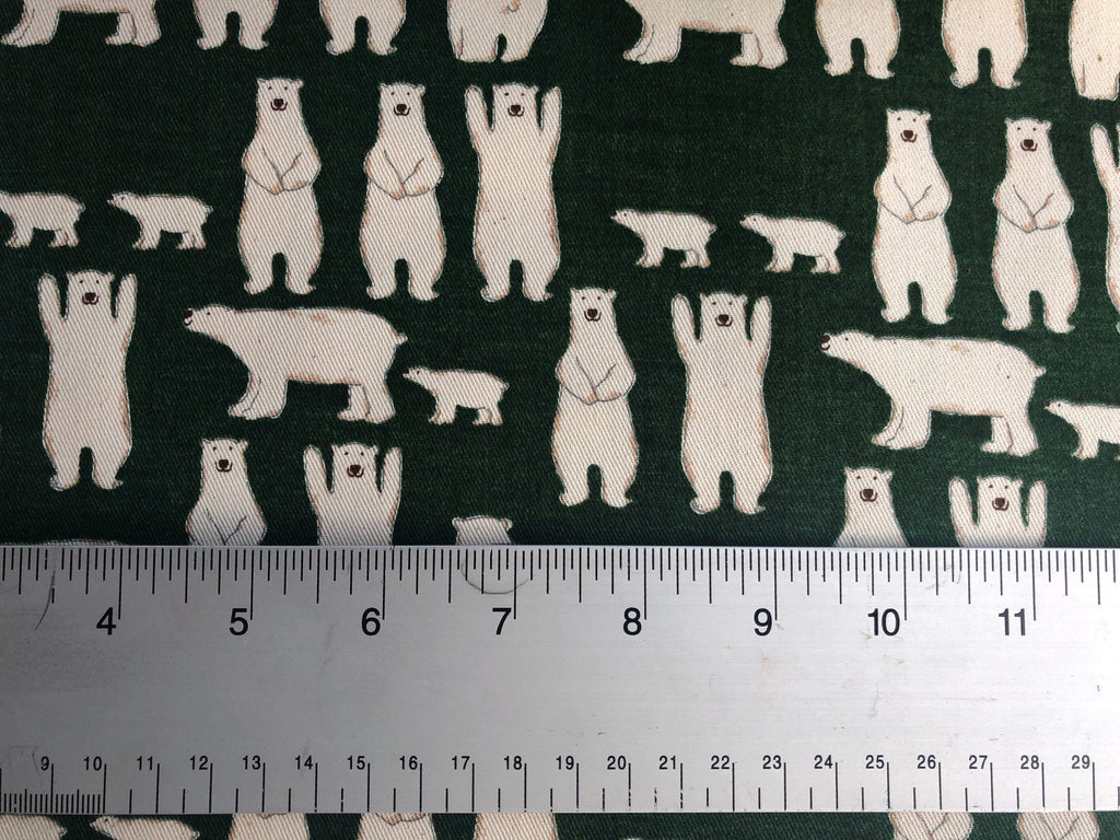 Kobayashi Polar Bear Green Twill Cotton Fabric.