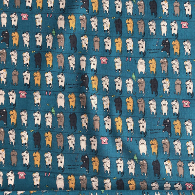 Kobayashi Japanese Cotton Linen Teal Gray Blue Cat Canvas Fabric.