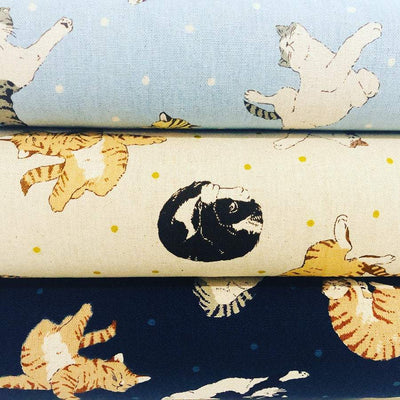 Kokka Cotton Linen Navy Blue Natural Sleeping Cat Lightweight Canvas Fabric.