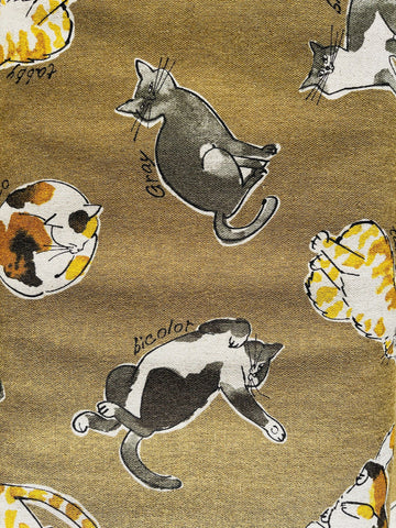 Kokka Cotton Gray Olive Brown Natural Sleeping Cat Lightweight Canvas Fabric.
