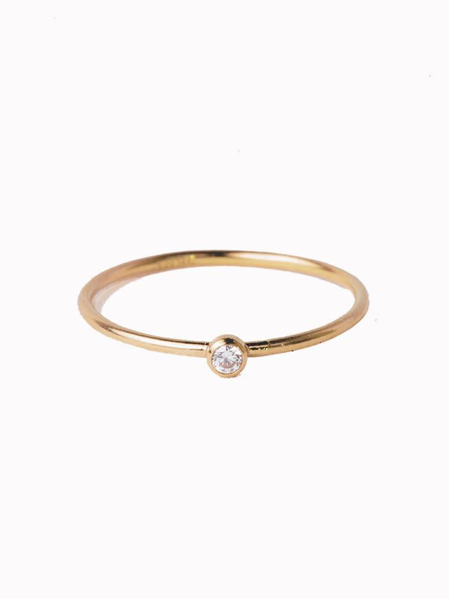 Go Rings 14K Gold Bezel Stackable Ring