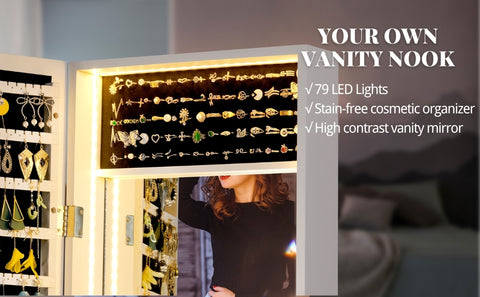 79 interior LED lights inside the wall mount jewelry organizer body brings good view