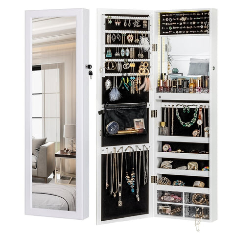 Jewelry Organizer Classic Design Wall Mount Lockable Organizer With Interior LED Light Bar